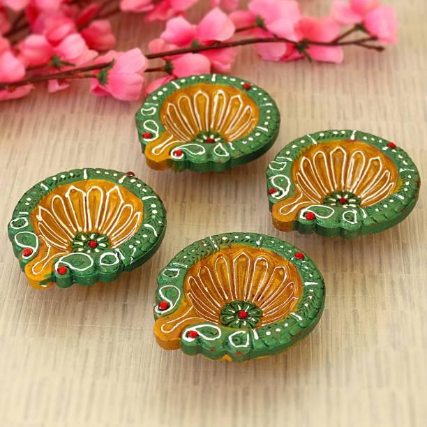 TIED RIBBONS Large Size Clay Diyas Handmade and Handpainted Decorative Terracotta Diyas for Diwali Terracotta (Pack of 4) Table Diya Set
