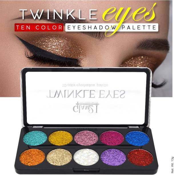 glam21 10 Color Glitter Eyeshadow for Eyes Beauty with Lilium Aloevera Cream 18 g