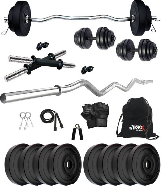 KRX 16 kg PVC 16 KG COMBO 3 with One 3 Ft Curl Rod and One Pair Dumbbell Rods with Gym Accessories Home Gym Combo