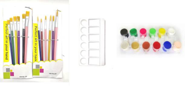 BVM GROUP 12 Painting Brush ( 6 Round + 6 Flat )+ Color Plate +12 Shade Tempra Colors/Paints/Water Colours for Painting/Kids/Colour Paints/Drawing for Kids