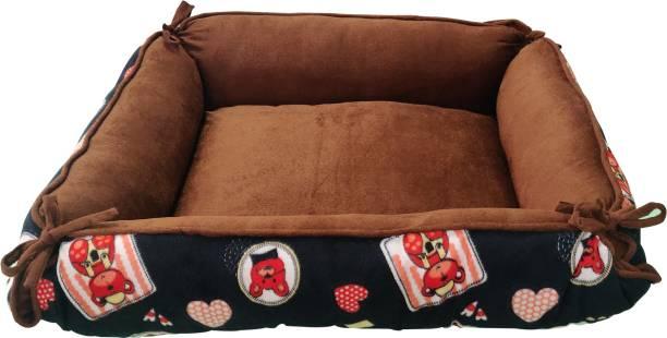 Dogerman Luxurious Durable Dual Colour cartoon Print Brown Velvet 2 in 1 Dog Cat Pet Bed cum Cushion (81 x 74 x 23 cms) Large L Pet Bed