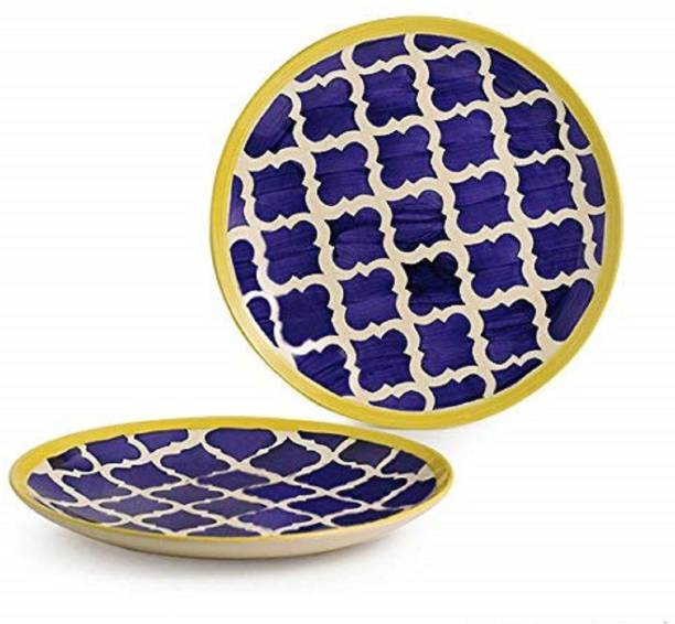SEPARATE WAY Umrao Plates Pair Hand painted Ceramic Dinner Plates Dinnerware Serving Plate Thali Ceramic Plates For Dinner (10 Inch, 2 Pieces) Dinner Plate