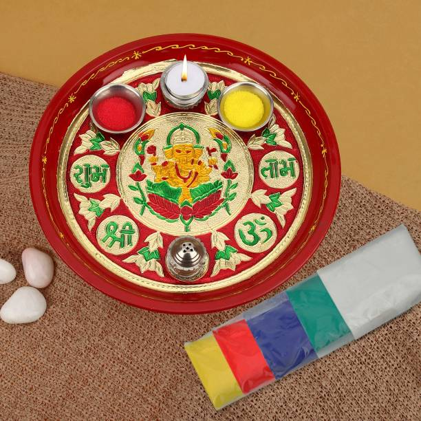 TIED RIBBONS 12 inch Pooja Thali with Rangoli Color Stainless Steel