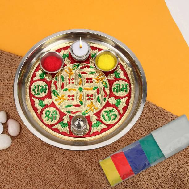 TIED RIBBONS Pooja Thali with Rangoli Color Stainless Steel