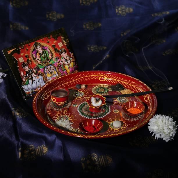 Vibhima Trunkbox Pooja Thali Set (7) Stainless Steel