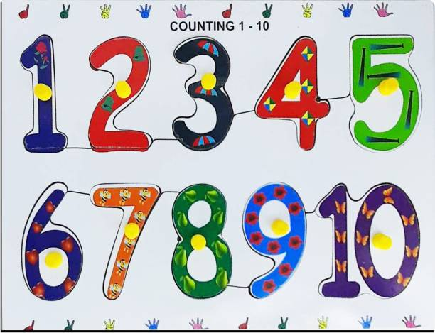 Kids Mandi Wooden Puzzle with Knobs, Educational Learning Wooden Board Tray (Number (1 to 10))