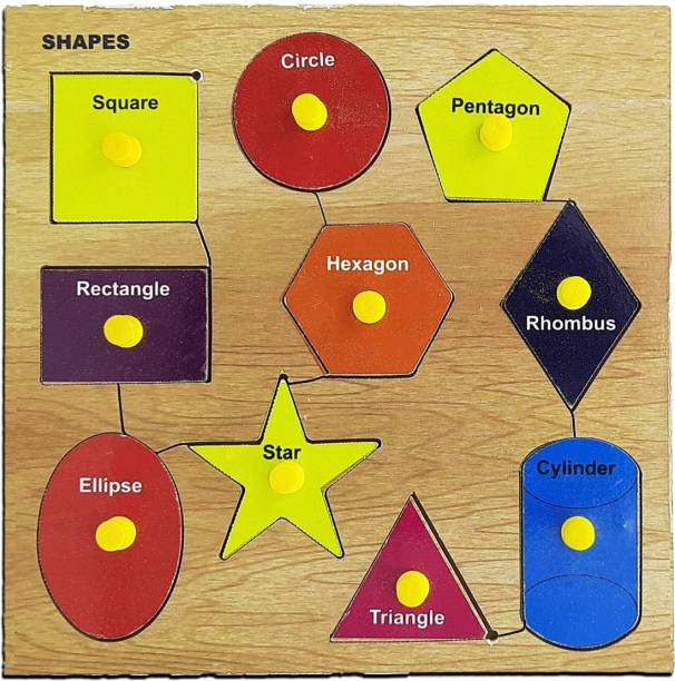 Kids Mandi Wooden Puzzle with Knobs, Educational Learning Wooden Board Tray (Shape)