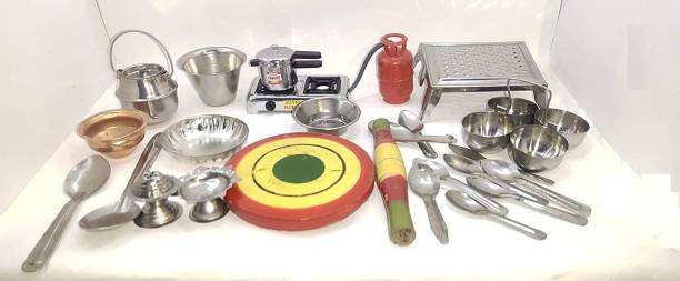 BVM GROUP 24 Pcs Mini Stainless Steel Utensils Non Toxic Indian Kitchen Set Great Kitchen Toys for Girls (Kid's Love Kitchen Set) ( It Has Sharp Edges Not Suitable for Small Baby )