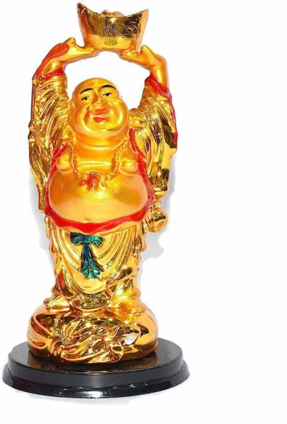 RUDRA DIVINE Rudraadivioone Exclusive Chinese Feng Shui Standing Laughing Buddha Medium Statue, Happy Man for Good Luck, Wealth, Prosperity at Home, Office Laughing Budha Standing 4 inch Laughing Budha statu Decorative Showpiece  -  11 cm