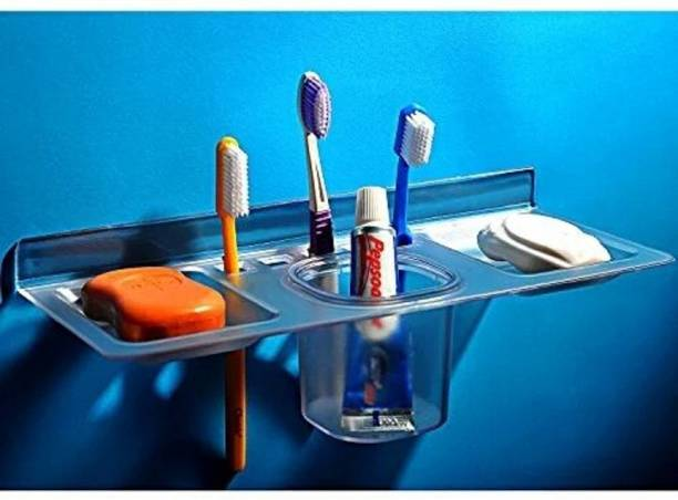 indicare Transparent Plastic Unbreakable Soap Dish Tooth Brush Paste Holder Home Acrylic Bathroom Faucets Accessories 4 in 1 (Transparent)