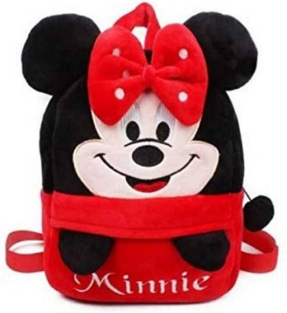 Pocket Whole Embroidered Soft red headup minnie school Bag special for kids  - 30 cm