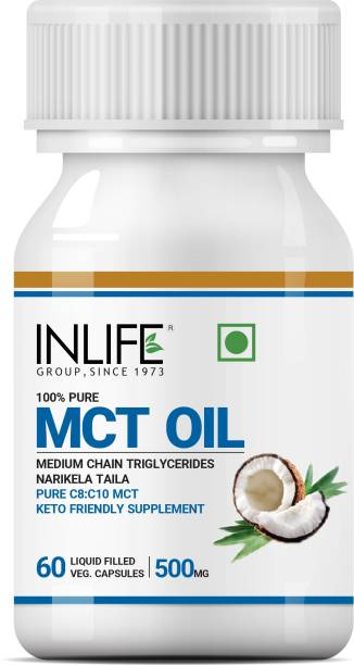Inlife Pure MCT Oil C8 C10 Keto Diet Friendly Advanced Product, 500mg - 60 Veg Caps