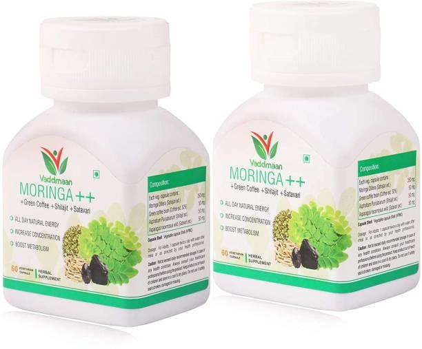 vaddmaan Moringa ++ With Shilajit, Satavari, Green Coffee Bean Extract, For Natural Energy - 60 Veg Capsules