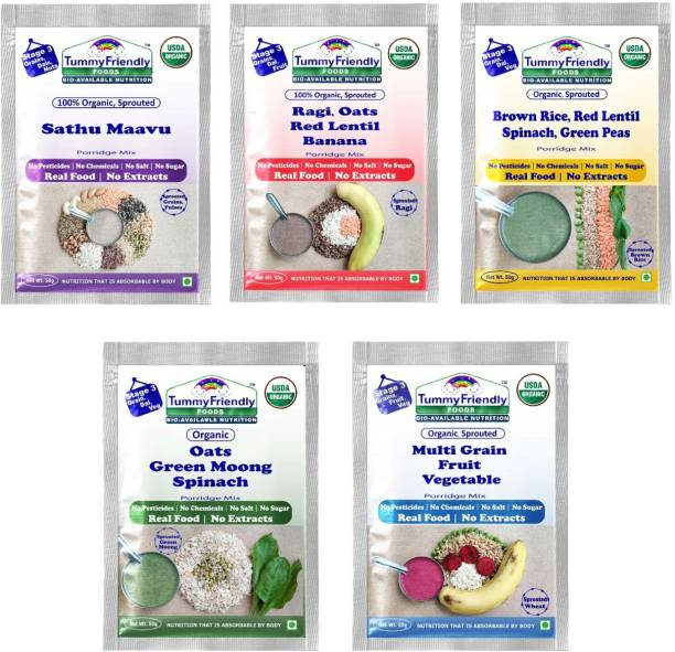 TummyFriendly Foods Certified USDA Organic Stage3 Sprouted Porridge Mixes Trial Packs | Organic Baby Food for 8 Months Old | Sprouted Ragi, Brown Rice, Oats, Sathu Maavu, Pulses, Vegetables & Fruit | 50g Each, 5 Packs Cereal