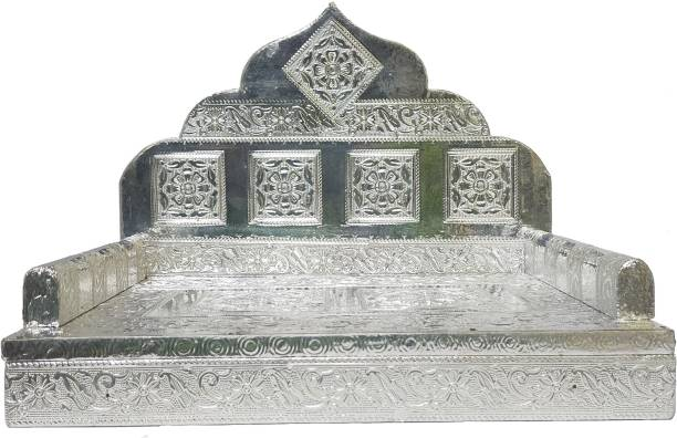 "KRISHNA SILVER PLAIN ( 8"" X 12"" ) Sinhasan,Singhasan God Sofa Bethak Wooden All Purpose Chowki"