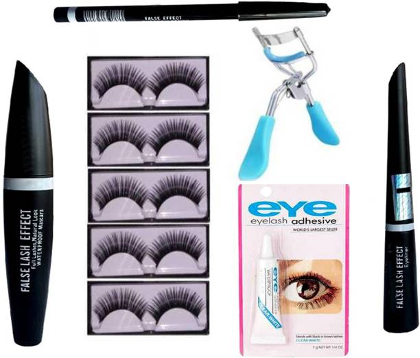 vringo Combo of Mascara,Eyeliner,Glue,Eyelash Curler and 5 pair Eyelash