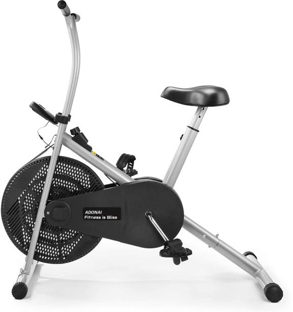 Adonai Air Bike with Fix Arms for Cardio Weight Loss Gym Workout - Semi Pre Installation Upright Stationary Exercise Bike
