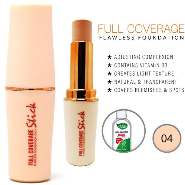 MARS Full Coverage Foundation Stick,(58019-3-04), 8g With Lilium Hand Cleanser Foundation