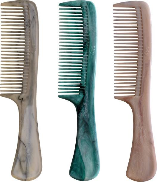 LILY Grooming Marble Handle Hair Combs For Men & Women, Pack of 3