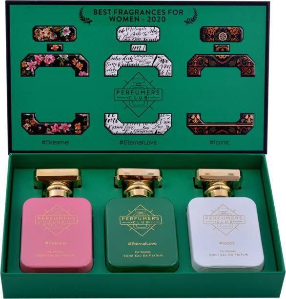 "PERFUMERS CLUB ""Best Fragrance for Women 2020"" - Gift Set of 3 (#Dreamer + #EternalLove + #Iconic) - Upto 24 hrs lasting (Eau De Parfum) with 18% Premium Oil   50ml x 3 pcs    6X better than Deodorants    Branded    Original    No Gas    Best for Gifting    Combo Eau de Parfum  -  150 ml"
