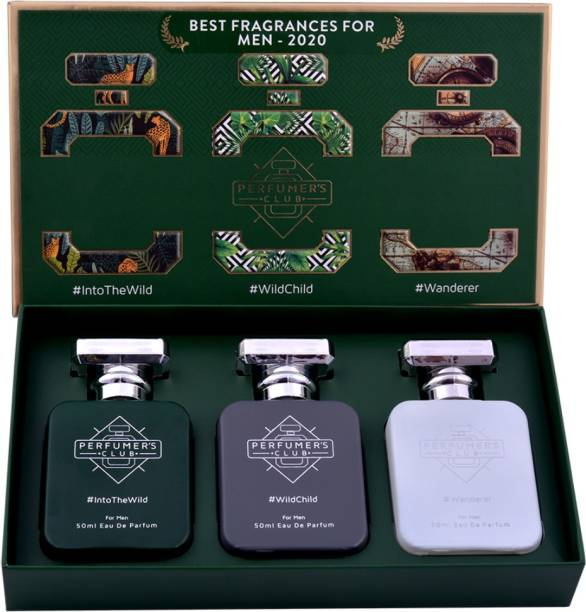 "PERFUMERS CLUB ""Best Fragrance for Men 2020"" Gift Set of 3(Into The Wild + Wild Child + Wanderer) Upto 24 hrs lasting Eau de Parfum  -  150 ml"