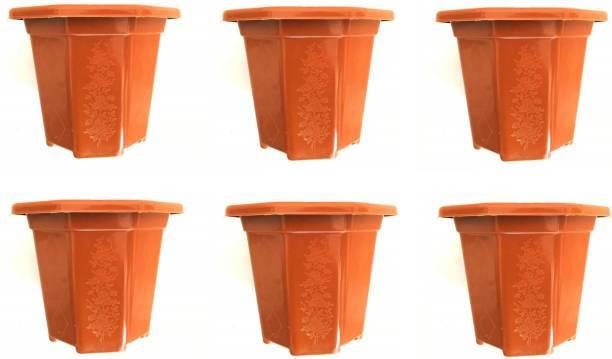 "SARTHI ENTERPRISE Gardening Flower Pots 9.5"" Inch Octagonal Garden Plastic Planters Pack of 6 Plant Container Set(Brown, Pack of 6, Plastic) Plant Container Set"