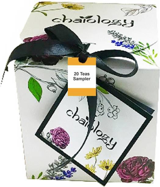 Chaiology Immunity Booster 20 Loose Leaf Tea Sampler with 10 Different Exotic Flavors Darjeeling Black Tea, Himalayan Green Tea, Tulsi Tea, Lavender Tea Chamomile Tea Tea Box
