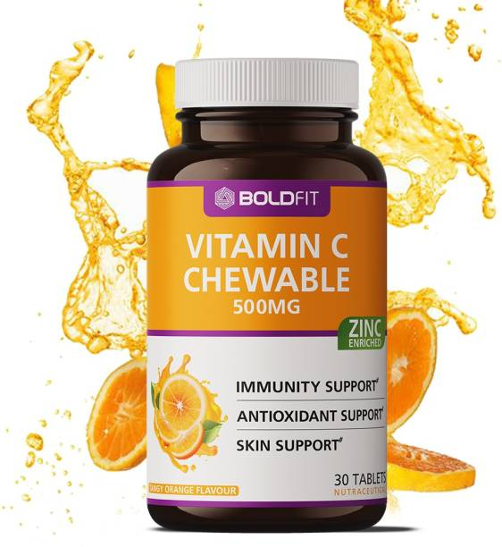 BOLDFIT Vitamin C With Zinc Chewable Tablets 500mg - Immunity Booster (Orange Flavour)
