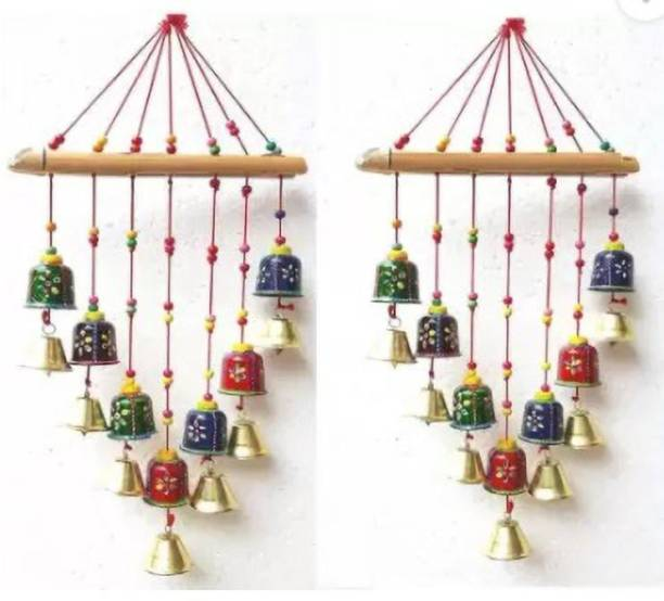 dass traders Dass traders creation Handcrafted Rajasthani Bells Design Wall Hanging Decorative Showpiece - 45 cm Wood Windchime (24 inch, Multicolor) Plastic Windchime