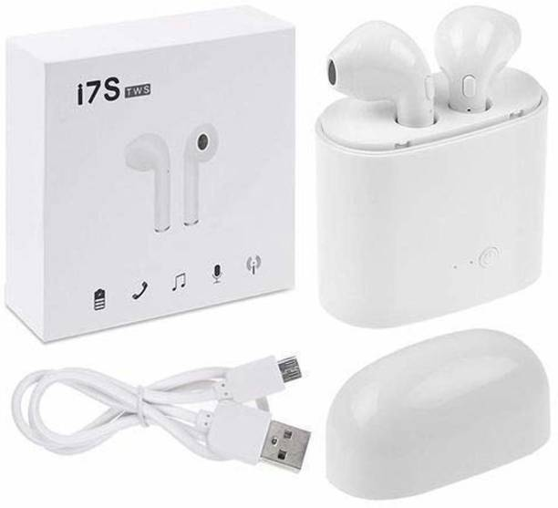 Jack Klein i7S Tws Wireless Headphone with Charging Box (White, in The Ear) Bluetooth Headset