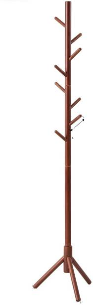 TradeVast Premium Bamboo Coat Rack Tree with 7 Hooks, 3 Adjustable Sizes Free Standing Wooden Coat Rack, Super Easy Assembly Hallway, Entryway Coat Hanger Stand for Clothes, Suits, Scarfs, Hat Solid Wood Coat Stand