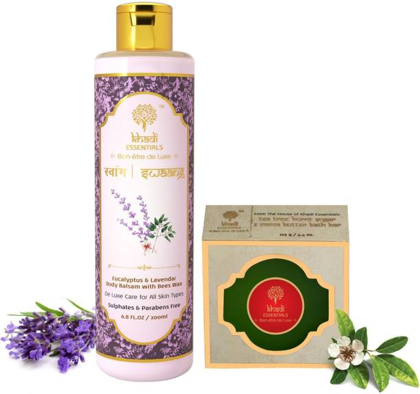 Khadi Essentials Combo of Lavender Hand and Body Lotion 200ml + Tea Tree Bath Soap 125gm for Skin Whitening