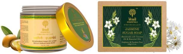 Khadi Essentials Combo of Swamini Body Butter 100gm + Jasmine Soap 100gm for Soft Bright Skin