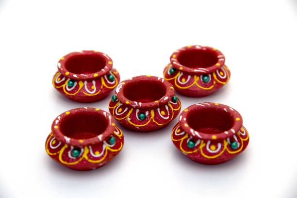 One Link Handmade Traditional Handi Diwali Diya / Mitti Ke Diye / Deepak - Terracotta Clay Decorative Oil Lamps for Navaratri /Deepawali / All Festivals with Cotton Wick / Diya Batti Terracotta (Pack of 5) Table Diya Set
