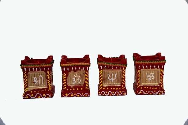 One Link Handmade Traditional Tulsi Small Diwali Diya / Mitti Ke Diye / Deepak - Terracotta Clay Decorative Oil Lamps for Navaratri /Deepawali / All Festivals with Cotton Wick / Diya Batti Terracotta (Pack of 2) Table Diya Set