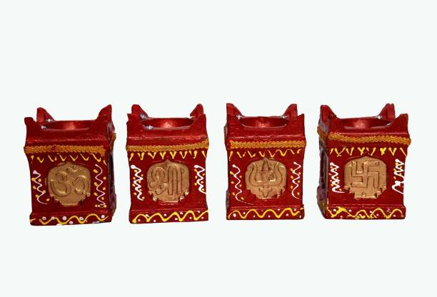 One Link Handmade Traditional Tulsi Big Diwali Diya / Mitti Ke Diye / Deepak - Terracotta Clay Decorative Oil Lamps for Navaratri /Deepawali / All Festivals with Cotton Wick / Diya Batti Terracotta (Pack of 2) Table Diya Set