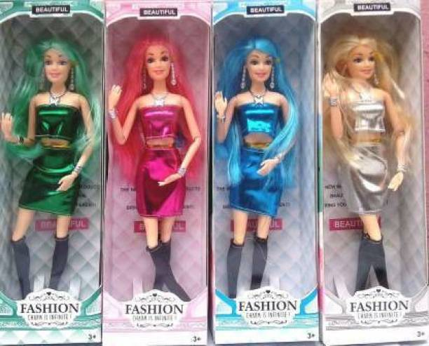shubhcollection Girls Look Durable Fashion Doll Hand & Legs Movable Doll Toy for Kids 25Cm (Color & Dress Maybe Very) [Age-3+] (Pack of 4)
