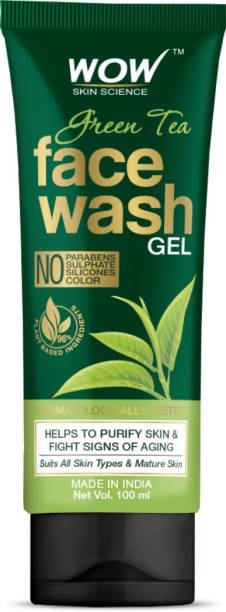 WOW SKIN SCIENCE Green Tea  Gel - contains Green Tea, Aloe Leaf Extracts, Pro-Vitamin B5 & Vitamin E - for Purifying Skin - No Parabens, Sulphate, Silicones & Color - 100mL Face Wash