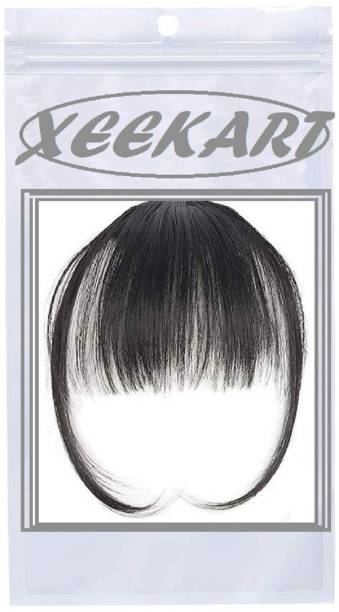 Xeekart Black Bangs  Clip On Clip In Front Bang Fringe Extension Piece Thin (Natural Color)  Extension on Flat Neat Bangs with Gradual Temples piece for Daily Wear Hair Extension