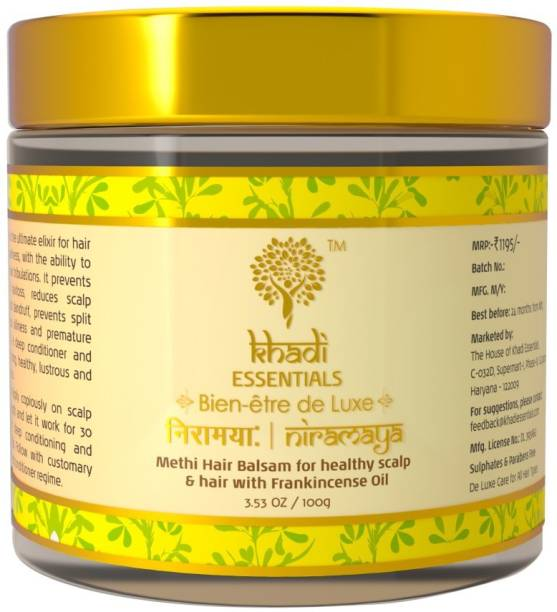 Khadi Essentials Methi Hair Growth Mask with For Dry, Damaged, Frizzy Hair And Hair Fall Control With Frankincense, Vetiver Essential Oil