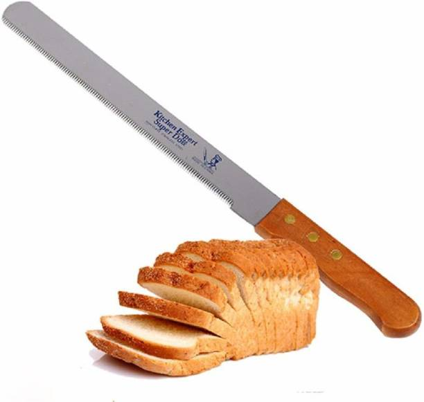 H&M Store Bread Knife Wide Teeth Wooden Handle Cake Knife Multiform Bread Knife Stainless Steel Serrated Bread Slicer Knife Steel Knife - 8 Inch Plastic Knife (Pack of 1) Steel Knife