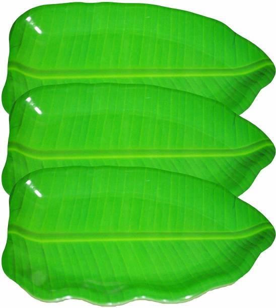 Laserbot Medium Banana Leaf South Indian Round Dinner Lunch Serving Melamine Platter Plate (Pack of 1) Tray