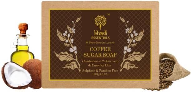 Khadi Essentials Ayurvedic Coffee Sugar Soap With Aloe Vera, Almond Oil and Goat Milk For Glowing Skin, 100gm Handmade Organic Bath Bar