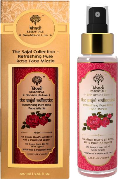 Khadi Essentials Ayurvedic Pure Rose Face Mist - Toner with Rose Oil & Purified Water for Dry Skin, Enhances Glow, Makeup Remover, 100ml Pure Chemical Free Face Mizzle Organic SLS & Paraben Free Men & Women