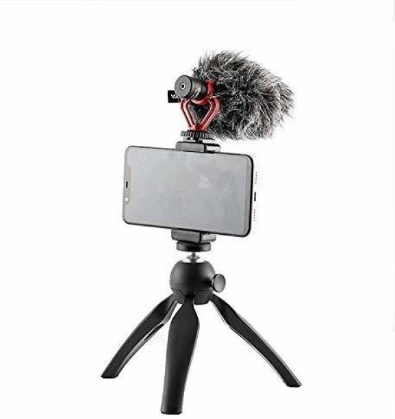 SHOPEE Universal Phone Tripod Mount with Cold Shoe Mount for Microphone LED Video Light 1/4'' Tripod Screw for Samsung Galaxy OnePlus Google Pixel Vlog Vlogging Tripod