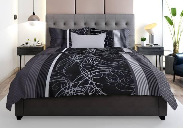 Prerak Deziners 300 TC Cotton Double King, King Abstract Bedsheet