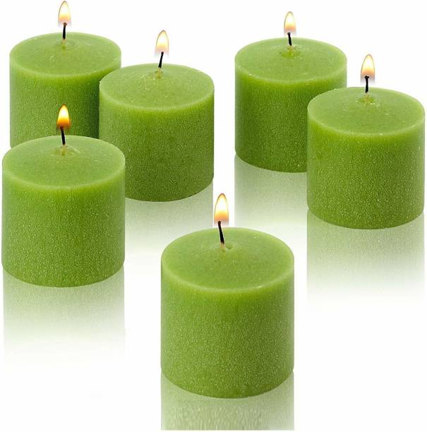 ZURU BUNCH Set of 6 scented Wax Votive Green Candles Burning time 4 Hours Ideal Diwali Candle/Festival/Birthday Party Candle