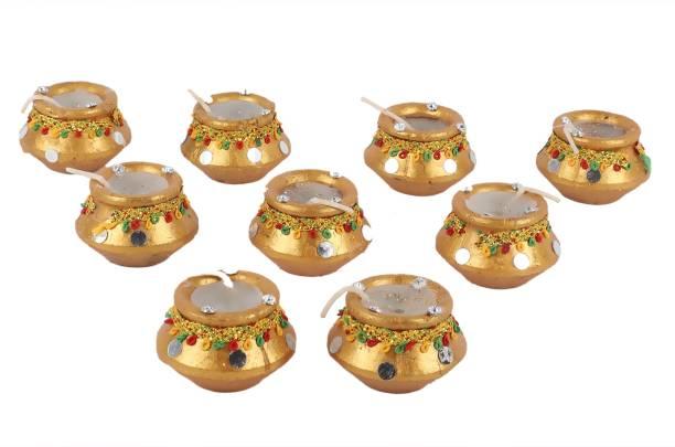 Manogyam Golden Matki Diyas Diwali Candles Set tealight Decorate for Diwali Diya for puja Diwali Home Decoration Light Candle
