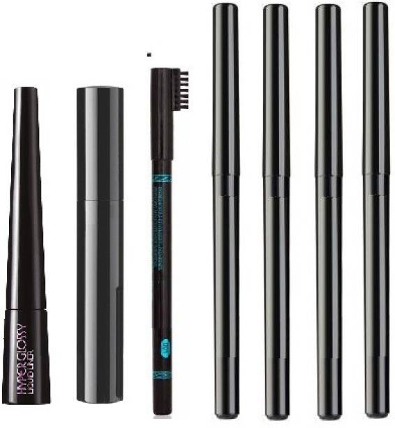 TheTopNotch Eyebrow Pencil Black & Menow Liquid EyeLiner & Menow Mascara & kajal 4 pcs