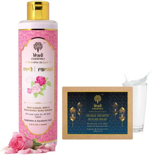 Khadi Essentials Combo of Ramani Indian Rose Lotion 200ml + Dubai Nights Sugar Soap 100gm for for Skin Whitening and Nourishment